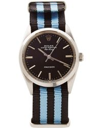 CMT Fine Watch And Jewelry Advisors Vintage Rolex Airking in Black with Striped Nato - Blue