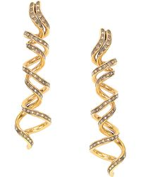 Oscar de la Renta Goldtone Swarovski Crystal Spiral Earrings - Lyst