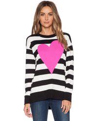 Kate Spade Intarsia Heart Stripe Sweater gray - Lyst