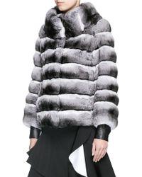 Yves Salomon Chinchilla Fur Coat - Gray