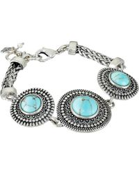 Lyst Lucky Brand Turquoise And Silver Link Bracelet In Blue