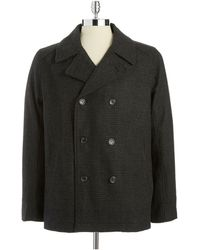 Calvin Klein Doublebreasted Plaid Pea Coat - Lyst