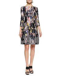 Oscar de la Renta Tropical Ikat-Print Cocktail Dress - Lyst
