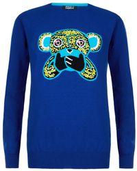 Markus Lupfer Speak No Evil Sequin Monkey Sweater - Lyst