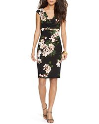 Pink Pony Lauren Cowlneck Floral Print Dress - Black