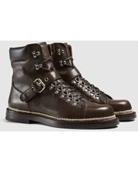 Gucci Leather Trekking Boot With Buckle - Brown