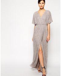 Asos Sequin Kimono Maxi - Lyst