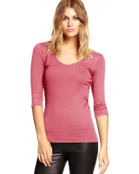 Michael Stars Shine 3/4 Sleeve Doubled Front V-Neck - Lyst