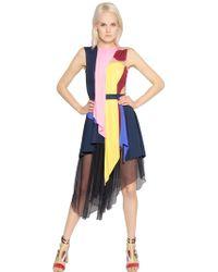 Peter Pilotto Asymmetrical Jersey & Chiffon Dress - Lyst