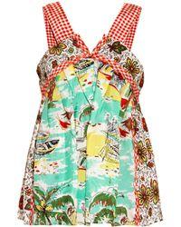 Easton Pearson Take Away Contrast-print Silk Swing Top - Multicolor
