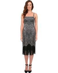 Sue Wong Embroidered Fringe Dress - Lyst
