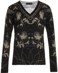 Alexander McQueen V-neck Floral-print Sweater - Lyst
