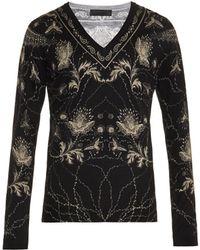 Alexander McQueen V-neck Floral-print Sweater - Lyst
