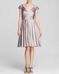 Vera Wang Dress Cap Sleeve Pleated - Lyst