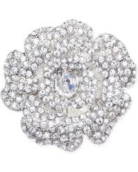 Jones New York - Silver-tone Crystal Open Flower Pin - Lyst
