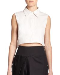 Milly Sleeveless Cropped Top beige - Lyst
