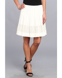 Rebecca Taylor Laser Cut Poplin Skirt - Lyst