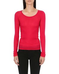 American Vintage Scoopneck Cotton Top Red - Lyst