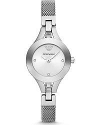 Emporio Armani Ladies Silvertone Crystal Mesh Watch - Lyst