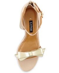 Kay Unger Marlee Metallic-bow Leather Sandal