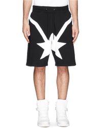 Givenchy Star Streak Cotton Jogging Shorts - Black