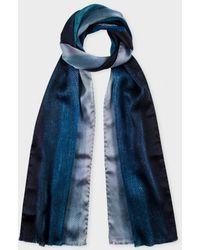 Paul Smith Navy 'Mainline Gradient' Silk Scarf - Lyst