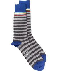 Paul Smith Gray Striped Socks - Lyst
