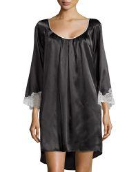 Oscar de la Renta Lace Luster 3/4-Sleeve Short Nightgown - Lyst