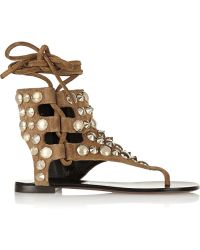 Giuseppe Zanotti Studded Suede Sandals - Lyst