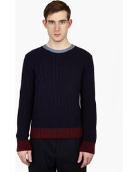 Valentino | Navy Wool Panelled Sweater | Lyst