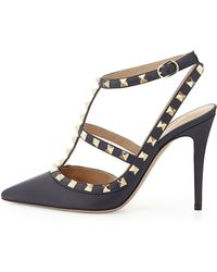 Valentino Rockstud Leather Halter Pump - Lyst