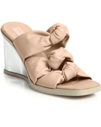 Stella McCartney Faux Leather Knotted Mule Wedge Sandals - Lyst