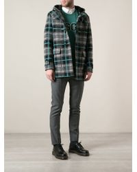 MSGM Checked Duffle Coat - Lyst
