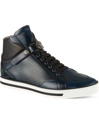 Versace Medusa Strap Perforated High Tops Navy - Lyst