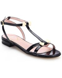 Moschino Cheap & Chic Bone-Bead Patent Leather Sandals black - Lyst