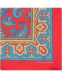 Turnbull & Asser Paisley with Border Pocket Square Handkerchief - Lyst