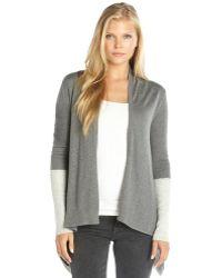 Jamison Grey Colorblock Cashmere Blend Cardigan - Lyst