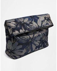 Asos Black Fold Over Clutch Bag - Lyst