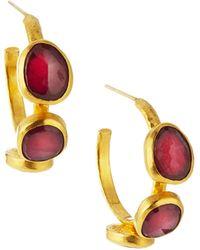 Gurhan Triple-Stone Small Hoop Earrings - Lyst