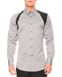 Alexander McQueen Tonalherringbone Harness Shirt - Lyst