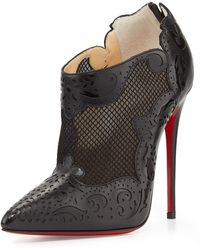 Christian Louboutin Mandolina Lasercut Mesh Red Sole Bootie - Lyst