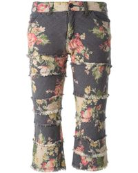 Comme Des Garçons Vintage Cropped Floral Jeans - Lyst