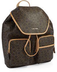 Calvin Klein Logo Patterned Backpack - Lyst