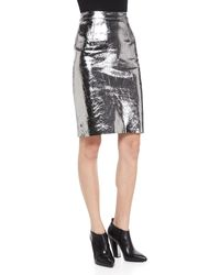 Milly Metallic Leather Pencil Skirt Gunmetal 6 - Lyst