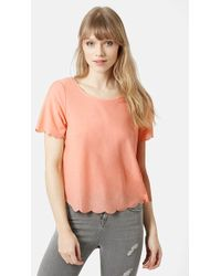 Topshop Scallop Frill T-Shirt orange - Lyst