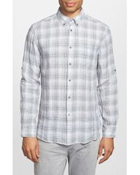 John Varvatos Plaid Linen Sport Shirt blue - Lyst