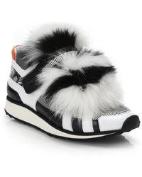Pierre Hardy   Black & White Fur-front Sneakers   Lyst