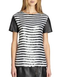 Rachel Zoe Nichols Leather-sleeved Sequined Striped Top - Lyst