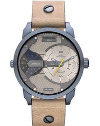 Diesel Men'S Mini Daddy Light Brown Leather Strap Watch 54X46Mm Dz7338 brown - Lyst