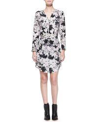 Rebecca Taylor Floral Shirtdress with Drawstring Waist Blacksugar 0 - Lyst